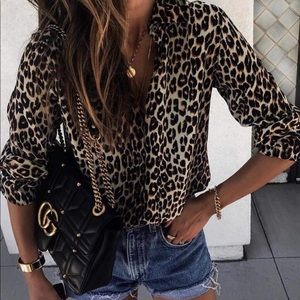 Tops - New Leopard print button down tops